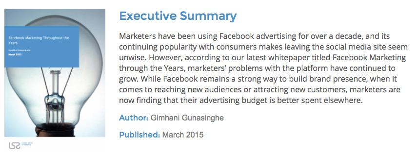 Facebook marketing study