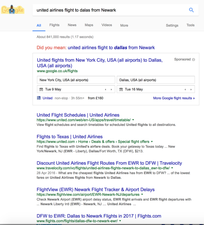 United airlines Google flight searches, brand impact